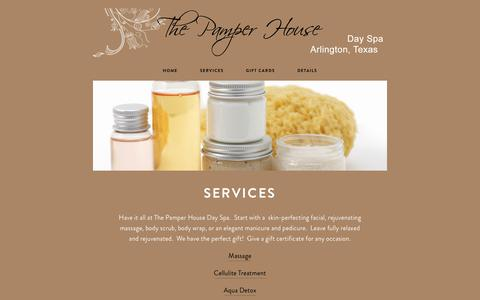 Screenshot of Services Page pamperhouse.com - Services — The Pamper House - captured Dec. 3, 2018