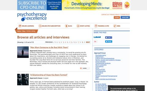 Screenshot of Blog psychotherapyexcellence.com - All Psychotherapy articles and interviews | Psychotherapy Excellence - captured Nov. 5, 2018