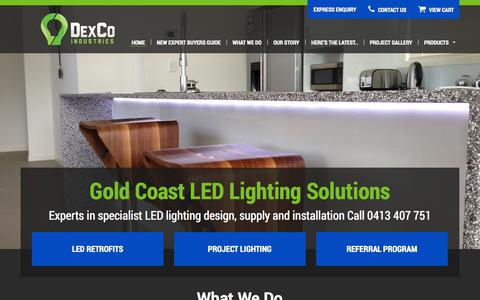 Screenshot of Home Page dexcoindustries.com - LED Lighting Gold Coast | 0413 407 751 | Commercial, Industrial Lighting Installation | Energy Efficient | Professional - captured Sept. 30, 2014