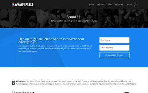 Screenshot of About Page behindsports.com - About Behind Sports | BehindSports.com - captured Sept. 30, 2014