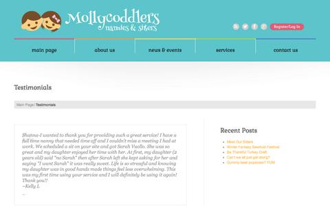 Screenshot of Testimonials Page mollycoddlers.net - Testimonials  |  Mollycoddlers – Nannies and sitters in Orange County, Long Beach and Los Angeles - captured Dec. 9, 2016