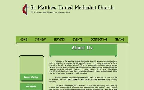 Screenshot of About Page stmatthew.org - St. Matthew United Methodist Church | ABOUT US - captured April 23, 2017