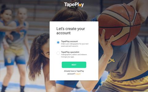 Screenshot of Signup Page tapeplay.com - TapePlay :: Video Done Easy. - captured Nov. 16, 2018