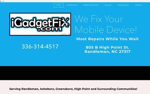 Screenshot of Home Page igadgetfixnc.com - Cell Phone Repair Randleman - captured Sept. 20, 2018