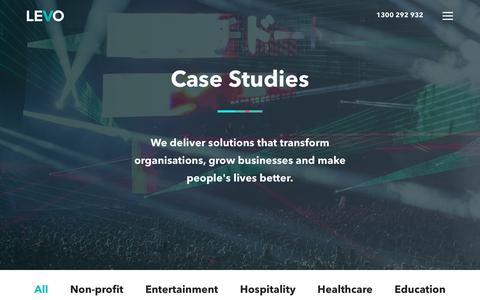 Screenshot of Case Studies Page levo.com.au - Portfolio - captured Sept. 28, 2018