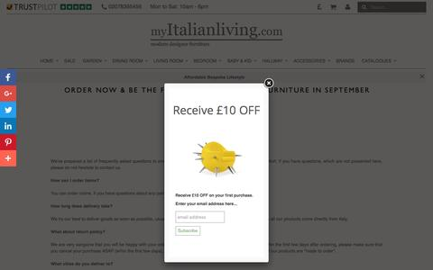 Screenshot of FAQ Page myitalianliving.com - Frequently Asked Questions My Italian Living Ltd - captured Aug. 14, 2016