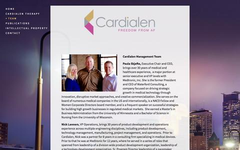 Screenshot of Team Page cardialen.com - Management — Cardialen - captured June 16, 2015