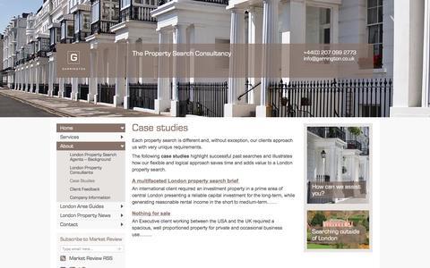 Screenshot of Case Studies Page garringtonlondon.co.uk - Case studies demonstrating London home finders in a property search - captured April 23, 2016