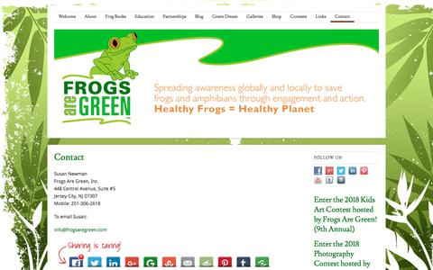 Screenshot of Contact Page frogsaregreen.org - Contact Susan Newman, founder of Frogs Are Green - engaging the public and kids around the world through awareness and conservation issues | Frogs Are Green - captured Aug. 30, 2018