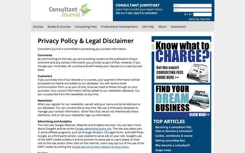 Screenshot of Privacy Page consultantjournal.com - Privacy Policy - captured July 20, 2018