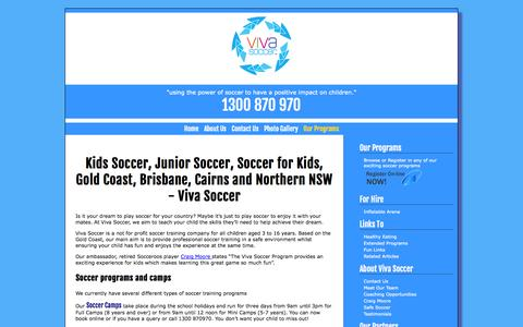 Screenshot of Home Page vivasoccer.com.au - Viva Soccer - captured Oct. 7, 2014