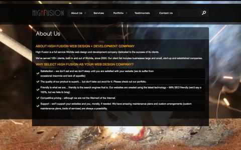 Screenshot of About Page highfusion.com - Web Design and Development - High FusionHigh Fusion - captured Oct. 3, 2014