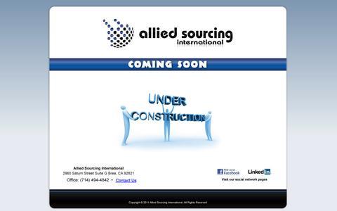 Screenshot of Home Page allsourcingintl.com - Allied Sourcing International - captured Oct. 4, 2014