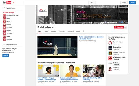 Screenshot of YouTube Page youtube.com - SocializeAgency  - YouTube - captured Oct. 25, 2014