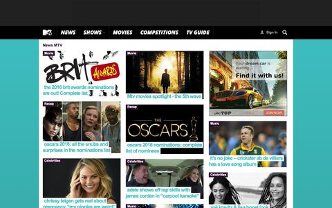 Screenshot of Press Page mtv.co.za - Breaking Local and World News, Latest Headlines, Artist, Celebrity Features | MTV Coza - Pag. 1 - captured Jan. 16, 2016