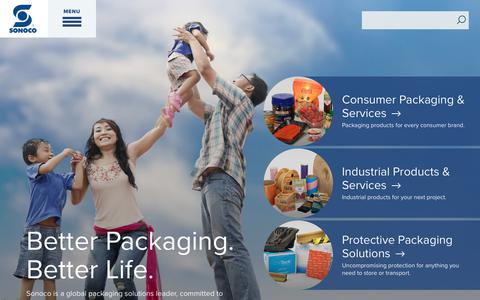 Screenshot of Home Page sonoco.com - Welcome to Sonoco | Sonoco Products Company - captured Feb. 4, 2019