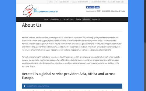 Screenshot of About Page aerotek-aviation.co.uk - About Us – Aerotek Aviation Engineering - captured Oct. 3, 2018