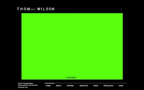 Screenshot of Home Page thomwilson.com - works - captured Oct. 9, 2014