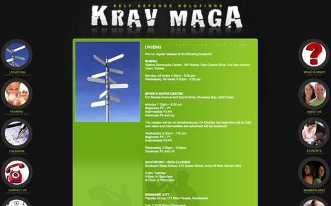 Screenshot of Locations Page kravmaga.org.au - Krav Maga Australia - Brisbane & Gold Coast Self Defence Training - captured Oct. 27, 2014
