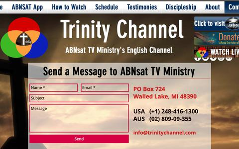 Screenshot of Contact Page trinitychannel.com - Christian Discipleship   Trinity Channel   Contact - captured Oct. 3, 2018