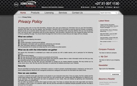 Screenshot of Privacy Page sonicwallsolutions.com - Privacy Policy  South Africa - captured Feb. 24, 2016