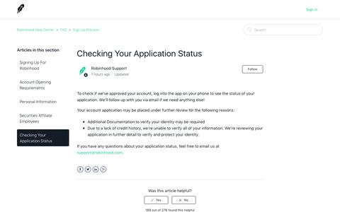 Checking Your Application Status – Robinhood Help Center
