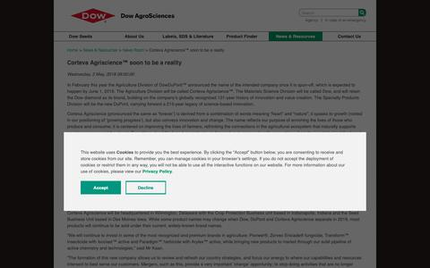 Screenshot of Press Page dowagro.com - Corteva Agriscience soon to be a reality - captured Oct. 20, 2018