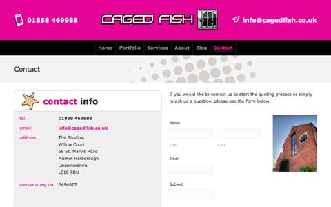 Screenshot of Contact Page cagedfish.co.uk - Contact – Web Design Leicester - captured July 15, 2018