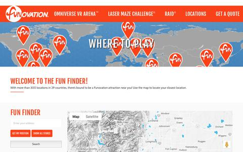 Screenshot of Locations Page funovation.com - Where to Play • Funovation Attractions Finder - captured Nov. 6, 2018