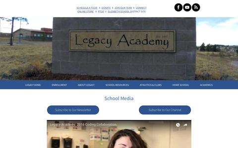 Screenshot of Press Page legacyk8.org - SCHOOL MEDIA - captured Sept. 28, 2018