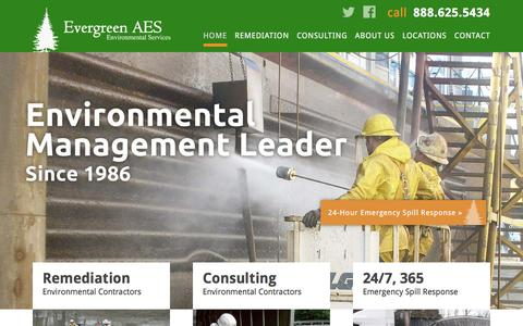 Screenshot of Home Page evergreenaes.com - Environmental Consultants & Remediation Contractors | Evergreen AES - captured Jan. 31, 2016