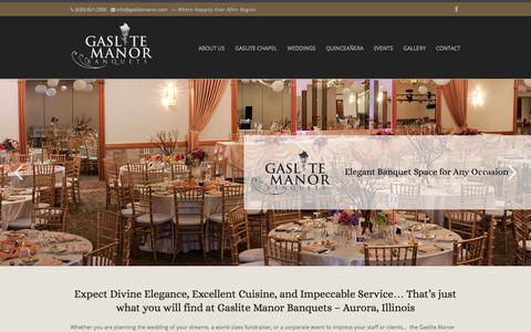 Screenshot of Home Page gaslitemanor.com - Weddings - Wedding Chapel - Banquets - Showers - Parties - Meetings - Fundraisers | - captured July 16, 2018
