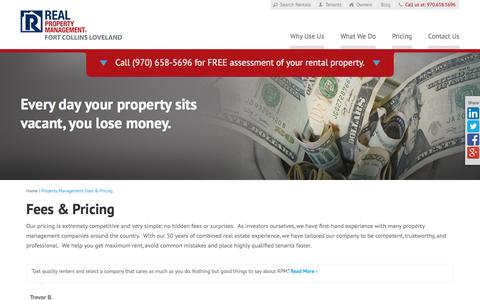 Screenshot of Pricing Page rpmfortcollins.com - Property Management Fees Fort Collins CO | Real Property Management Fort Collins Loveland - captured Feb. 16, 2016