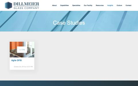 Screenshot of Case Studies Page dillmeierglass.com - Dillmeier Glass Case Studies - captured Nov. 24, 2016