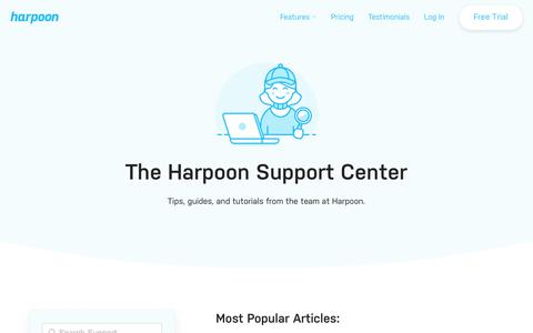 Screenshot of Support Page harpoonapp.com - Tips, guides, and tutorials from the team at Harpoon. - captured Nov. 5, 2019