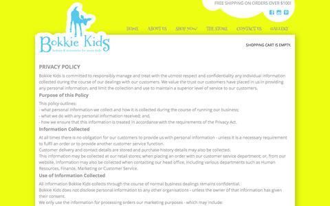 Screenshot of Privacy Page bokkiekids.com.au - privacy - captured Sept. 30, 2014