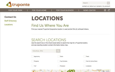 Screenshot of Locations Page trupointe.com - Locations - captured Nov. 5, 2014