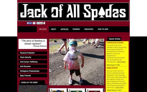 Screenshot of Home Page everydayjacks.com - Jack of All Spades - captured Oct. 3, 2014