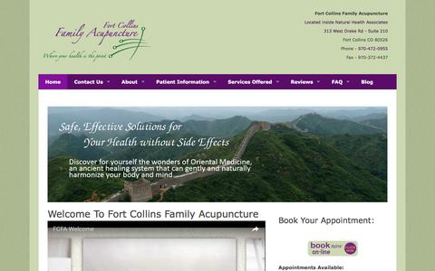 Screenshot of Home Page ftcollinsfamilyacupuncture.com - Welcome to Fort Collins Family Acupuncture – 343 West Drake Rd – Suite 240-Fort Collins Colorado-970-472-0955 - captured Nov. 25, 2016