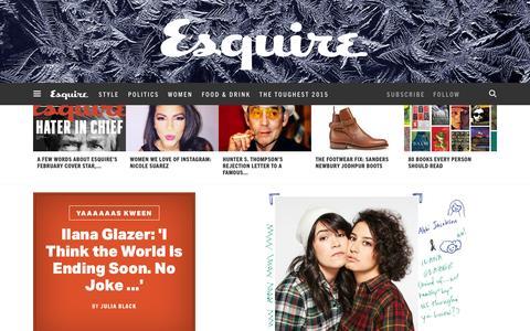 Screenshot of Home Page esquire.com - Esquire - Men's Fashion, Cocktails, Politics, Interviews, and Women - captured Jan. 8, 2016