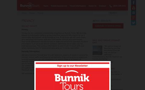 Screenshot of Privacy Page bunniktours.com.au - Privacy | Holiday Packages | Bunnik Tours - captured Jan. 7, 2016
