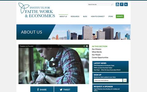 Screenshot of About Page tifwe.org - About Us | Institute for Faith, Work & Economics - captured Sept. 19, 2014