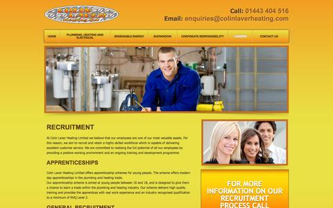 Screenshot of Jobs Page colinlaverheating.com - Heating Jobs, Plumbing Apprenticeships, Central Heating Jobs - Newport - captured Jan. 30, 2016