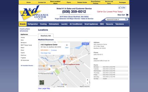 Screenshot of Contact Page Locations Page adappliancecenter.com - Contact A&D Appliance Center in Massachusetts - captured May 7, 2017