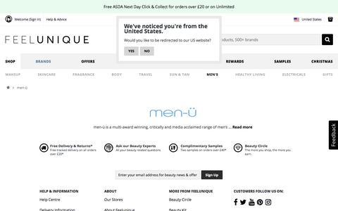 Screenshot of Menu Page feelunique.com - men-ü | Men's Skincare & Bodycare | Feelunique - captured Dec. 5, 2019