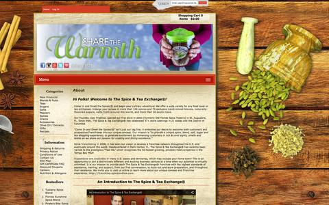 Screenshot of About Page spiceandtea.com - About : Spice and Tea Exchange, Purveyors of fine Spices, Herbs, Teas, & Accessories - captured Feb. 16, 2016