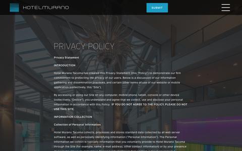 Screenshot of Privacy Page hotelmuranotacoma.com - Privacy Policy   Hotel Murano, Tacoma - captured Sept. 30, 2018