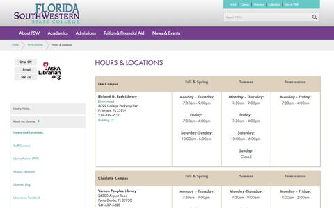 Screenshot of Hours Page fsw.edu - Hours & Locations | FSW Libraries | Florida SouthWestern State College - captured Sept. 22, 2014