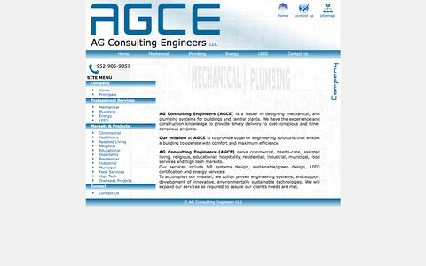 Screenshot of Home Page ag-ce.com - AG Consulting Engineers | Plumbing Systems - captured Feb. 4, 2016