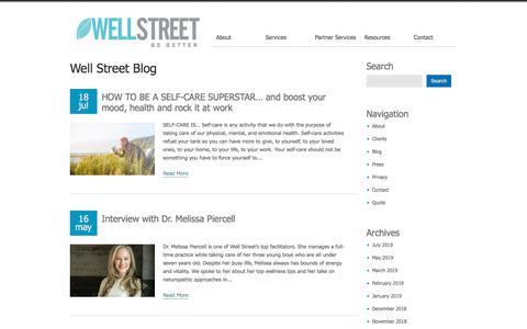 Screenshot of Blog wellstr.com - Well Street Health | Corporate Wellness Solutions | Mindfulness, Stress, Nutrition - captured Dec. 6, 2019